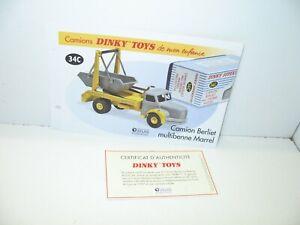 1 Sheet + Certif. Dinky Toys Atlas Repro Ref 34 C, Truck Berliet Multibenne