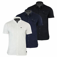 Mens Shirt Firetrap Gardar Cotton Short Sleeve Casual Top