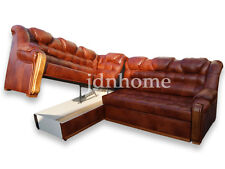 Corner Sofa Bed with Storage, Real Leather, Made to Measure, Modern