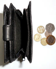 Mens Black Leather Bifold Wallet With External Zip Around Coin Tray Credit cards