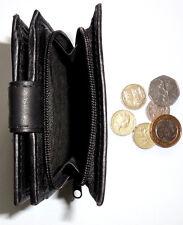 Herren Schwarz Leder Falttüren Geldbörse mit externem Zip Around Coin tray Kreditkarten