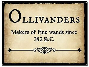 HARRY POTTER OLLIVANDERS FINE MAKERS OF WANDS METAL SIGN, HOGWARTS, MAGIC,FILM