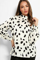 New Look Womens Long Sleeve Black Printed Blouse Top in Ivory