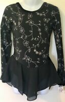 GK WINTER DAISY CHILD SMALL FLORAL FOIL PRINT LgSKV FIGURE SKATE DRESS CS NWT!