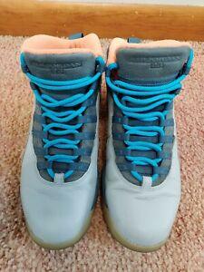 Men's Nike Air Jordan 10 X Retro Bobcats Wolf Gray Blue Orange Sz 11 310805 026