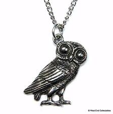 Owl of Athena Necklace - UK Hand Cast - Mythology Symbol of Knowledge & Wisdom