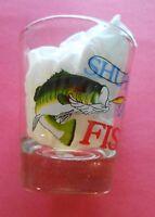 Shut Up and Fish! Wide Mouth Bass NEW Fishing Shot Glass