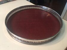 vintage Fleur-de-lis wood & silver metal round 12� drink Serving tray