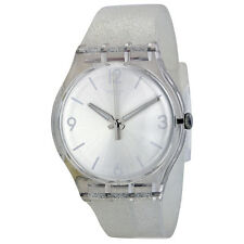 Swatch Mirrormellow Shimmer Silver Glitter Dial Transparent Silicone Ladies