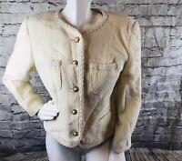 ALLEN SCHWARTZ ABS USA Wool Blend Women's Blazer Jacket Ivory Gold SZ 12