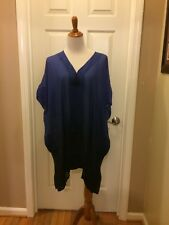 New Soma Cover Up Chiffon Caftan Short Sleeve Serene Ombre Royal S/M NWT