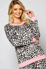 LADIES SOFT - PINK ANIMAL PRINT  FLEECE  Pyjamas  PJS Women's Girls  - 16 - 18