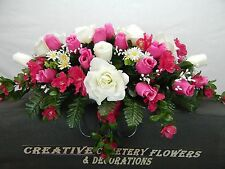 Memorial Cemetery Silk Flower Headstone/Tombstone Saddle/Pillow Grave Decoration