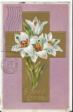 Early Easter Card Lillies And Cross Early 1900S