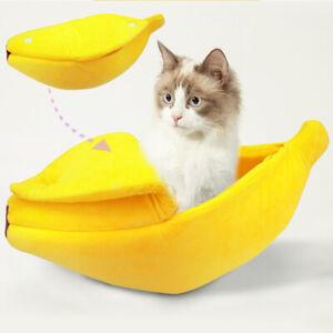 Cute Dog Cat Nest Bed Banana Sleep Cushion Puppy Kitten Warm House Sofa Kennel