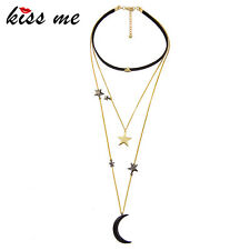 KISS ME Popular Choker Necklace Three Layers Alloy Stars Moon Necklaces xl00944a