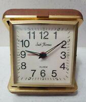 Seth Thomas Wind Up Travel Alarm Clock Brown Plastic Case Pocket Works