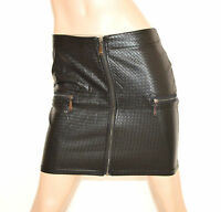 MINIGONNA NERA donna pelle gonna corta sexy zip ecopelle skirt мини-юбка jupe Z1