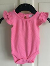 BNWOT TU Short Sleeve Vest. Girls. Age Up To 1 Month. Pink/ Neon Pink Spots