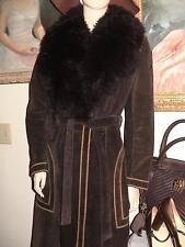 vtg 70s groovy ILGWU brown suede coat fur lined sheepskin collar tie belt 10 M