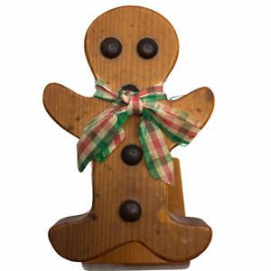 Vintage Folk Art Wood Gingerbread Man Note Card Recipe Holder Clip Clothespin
