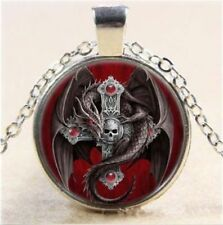 Glass Cabochon Red DRAGON SKULL CROSS Pendant Necklace 50 cm chain UK Seller