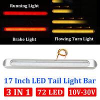 """17"""" Red Amber LED Chrome Truck Trailer Stop Turn Tail Running Light Bar 12V-24V"""