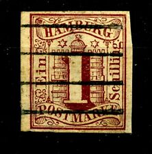 Germany Hamburg 1859 1 Schilling Brown Postally Used Scott's 2 / Michel 2
