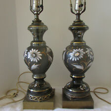 Pair Vintage (40s) Gray Glass Hand Painted Lamps with Ornate Brass Bases Germany