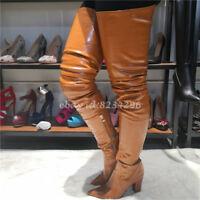 Hoch Blockabsatz Overkneestiefel Damen Boots Spitz Zehe Europa Schuhe Stiefel