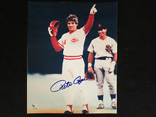 PETE ROSE {REDS} SIGNED 8X10 PHOTO HIT #4192 RECORD BREAKER COA/HOLO GAI