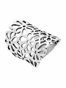 Chunky 925 Sterling Silver Ring with Floral Design