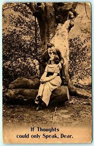 Postcard~ Posted 1914~ Romance~ If Thoughts Could Only Speak~  c883