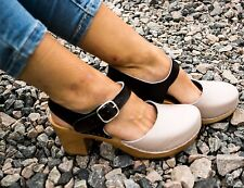 Leather sandals Women clogs Swedish clogs Wood shoes Wooden boots Slippers heel