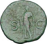 CLAUDIUS 41AD MINERVA ATHENA Authentic Ancient Roman Rome Coin i46848