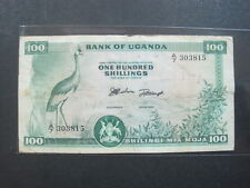 UGANDA 100 SHILLING 1966 P5 92# CURRENCY BANK BANKNOTE MONEY