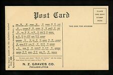 Advertising postcard N.Z. Graves Co. Philadelphia, PA Zenith Art Clusters