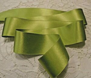 """1-1/2"""" WIDE DOUBLE FACE SILK SATIN RIBBON - CHARTREUSE GREEN # 108"""