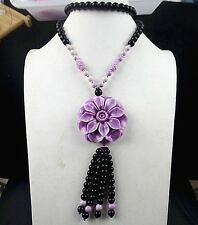 Beautiful unique Giant clam carved flower Long necklace JC1138