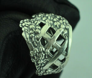 Beautiful 925 Sterling Silver Lattice Flowers Spoon Ring
