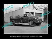 OLD LARGE HISTORIC PHOTO OF WOODBRIDGE ONTARIO CANADA FIRE DEPARTMENT TRUCK 1950