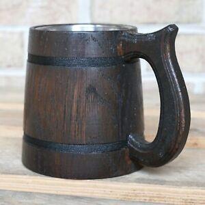 Oak Wooden Beer Mug (20 oz) German Stein W/ Stainless Steel Mug Interior