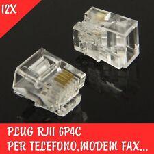 12x PLUG RJ11 6P4C PER TELEFONO MODEM FAX SPINA MODULARE CONNETTORE SPINOTTO