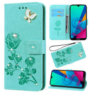 For iPhone 12 11 Pro Max XS XR 7 8 6 Leather Wallet Diamond Butterfly Card Case