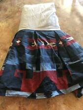 Ralph Lauren King Blue Red Bed Skirt Flounce New Factory Folded Made In Usa