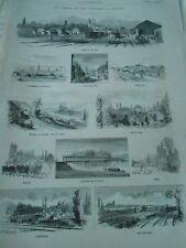 Gravure 1875 - Le Chemin de Fer d'Orléans à Chalons