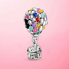 🇬🇧💜💜925 STERLING SILVER DISNEY UP HOUSE & BALLOONS CHARM & POUCH