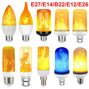B22 E14 E27 LED Flicker Flame Lamp Bulb Burning Fire Effect Candle Bulb Light UK