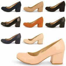 LADIES FORMAL SLIP ON COURT WORK SHOES,MID BLOCK HEEL,SIZES 3-8 0322-8
