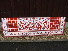 """Vintage  Red & White- Enamel  Fireplace Hearth -Stove Floor Plate 48"""" x 15"""""""